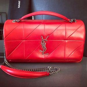 NWT Saint Laurent Patchwork Jamie Medium Bag, Red